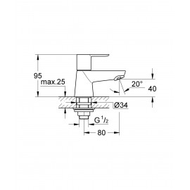 Вертикальный вентиль Grohe BauLoop 20422000