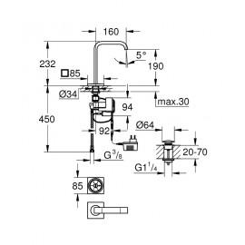 Цифровой смеситель для раковины Grohe Allure F-digital 36342000