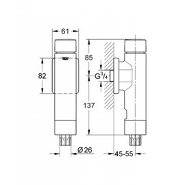 Смывное устройство под давлением для унитаза (замена 37145) Grohe Rondo 37347000