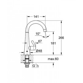 Вертикальный вентиль Grohe Zedra New 30026000