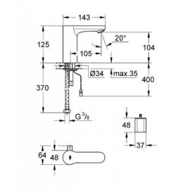 Смеситель инфракрасный для раковины со смешиванием Grohe Eurosmart Cosmo CE 36327000