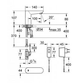 Смеситель инфракрасный для раковины Grohe Euroeco CE 36269000